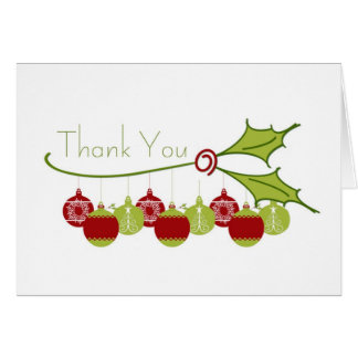 Thank You Holly Ornaments Greeting Card