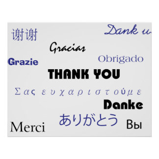 Thank You (in black and blue002) Print