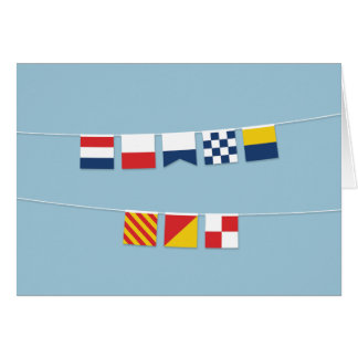 THANK YOU in Colorful Nautical Flags Card
