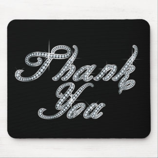 Thank You in Faux-Diamond Bling Script Mouse Mat