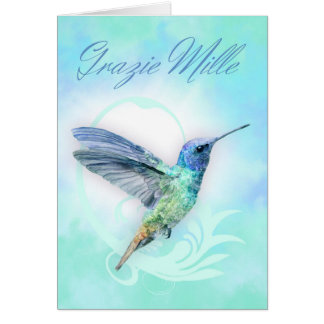 Thank You In Italian - Watercolor Humminbird Card