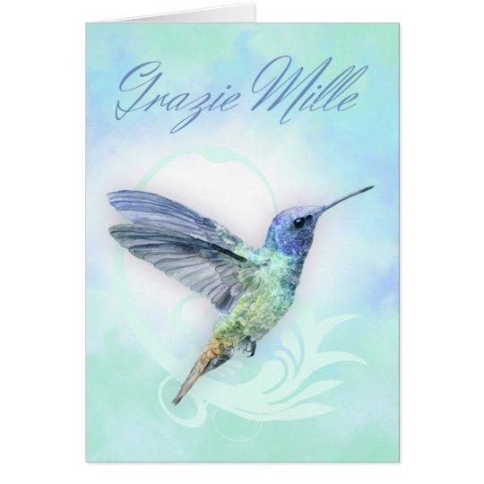 Thank You In Italian - Watercolor Humminbird Card