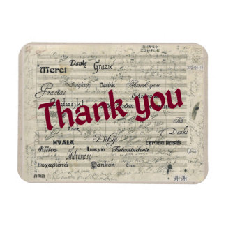 Thank You in Many Languages on Beethoven Score Rectangular Photo Magnet