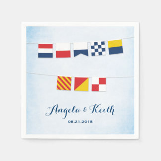 THANK YOU in Nautical Flags Cloud Blue Paper Napkins