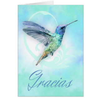Thank You In Spanish - Watercolor Hummingbird Card