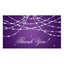 Thank You Insert Sparkling String Purple Business Card Templates