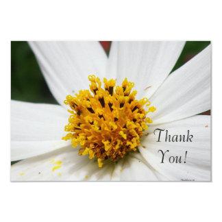 Thank You Invitations Card White Yellow Flower