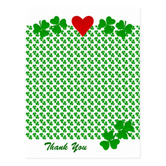 Thank You Irish Shamrock border with red heart Postcard