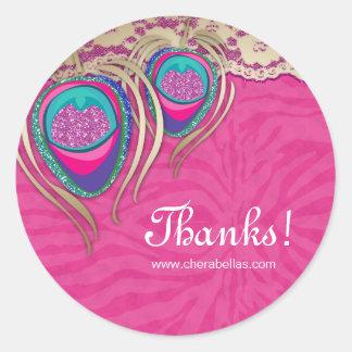 Thank You Jewelry Sticker Peacock Pink Zebra