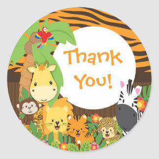 Thank You Jungle Safari Baby Animals Sticker