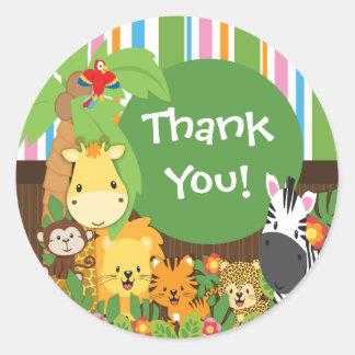 Thank You Jungle Safari Baby Animals Sticker