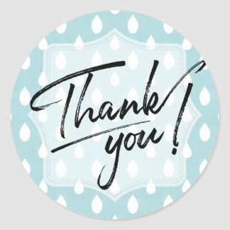 Thank You Label | Blue Raindrop Patterned Stickers