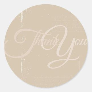 Thank You Label Seal - Wedding Beige Round Sticker