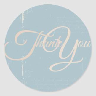 Thank You Label Seal - Wedding Blue Round Stickers