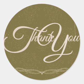 Thank You Label Seal - Wedding Olive Green Round Sticker