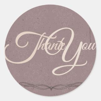 Thank You Label Seal - Wedding Purple Round Sticker
