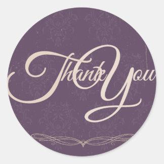 Thank You Label Seal - Wedding Purple Sticker