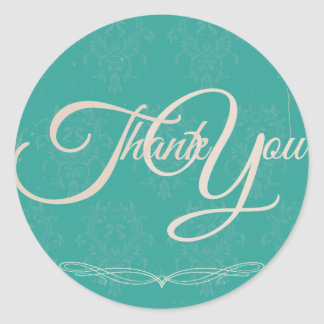 Thank You Label Seal - Wedding Turquoise Round Sticker