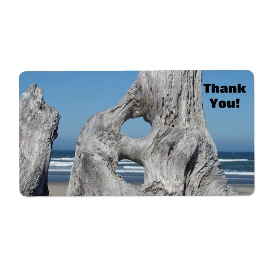 Thank You! label stickers Blue Waves Driftwood Shipping Label