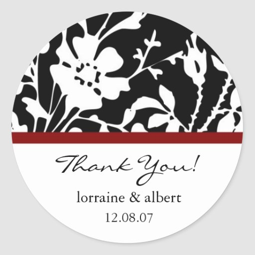 Thank You Labels, Black Floral Top Stickers