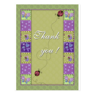 Thank you - lady bug and butterfly post cards