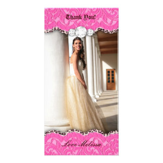 Thank You Leopard Lace Jewel Sweet 16 Pink b Photo Greeting Card