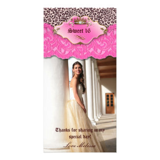 Thank You Leopard Lace Jewel Sweet 16 Pink Personalised Photo Card