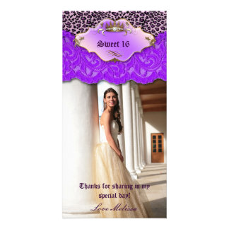 Thank You Leopard Lace Jewel Sweet 16 Purple Personalised Photo Card