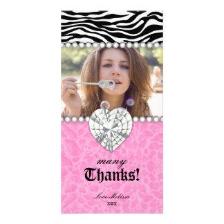 Thank You leopard zebra Lace Pearls Jewel Sweet 16 Photo Card