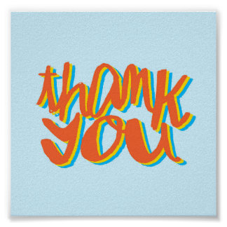 Thank You Lettering Art Gift Poster