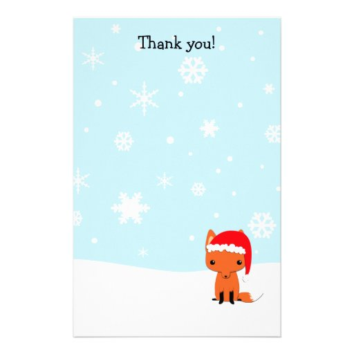 thank you letters fox christmas stationary customized With thank you letter stationery