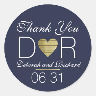 thank you . love heart .  wedding favor dark-blue round sticker