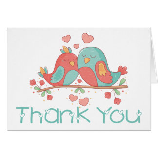 Thank You Lovebirds Blue Green Turquoise & Pink Card