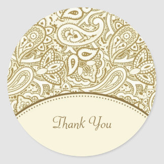 Thank You Luxury Gold and Ivory Paisley Damask Round Sticker
