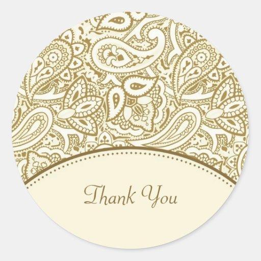 Thank You Luxury Gold and Ivory Paisley Damask Sticker