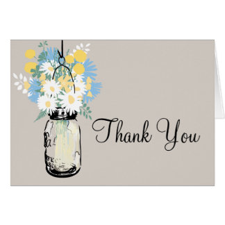 Thank You Mason Jar and Wildflowers Card