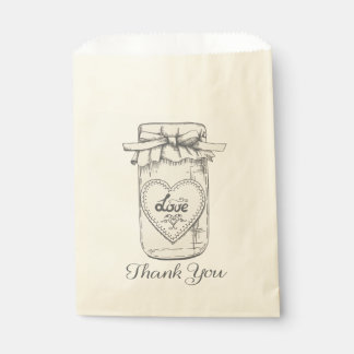 Thank You Mason Jar Hearts Wedding Bridal Shower Favour Bags