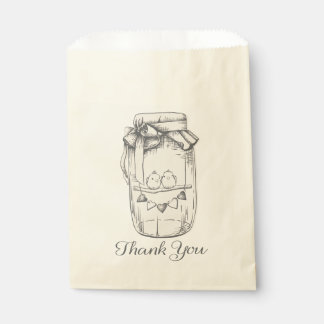 Thank You Mason Jar Lovebird Wedding Bridal Shower Favour Bags
