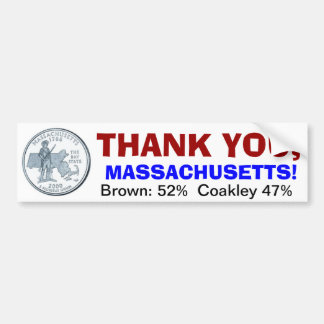 Thank you, Massachusetts Bumper Sticker