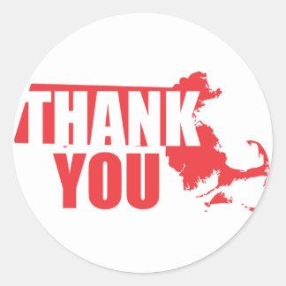Thank You Massachusetts Round Sticker