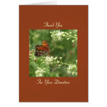 Thank You Memorial Donation, Orange Butterfly Note Note Card