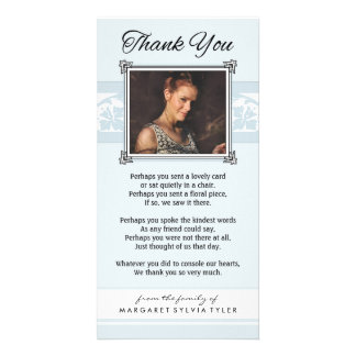 Thank You Memorial Light Blue & White Photo Card