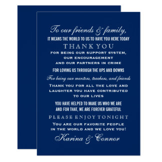 Thank You Message Card | Navy Blue Wedding