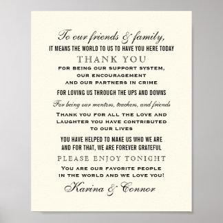 Thank You Message Sign | Black Wedding