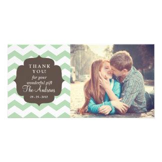 Thank You Mint Chevron Stripes Photo Greeting Card