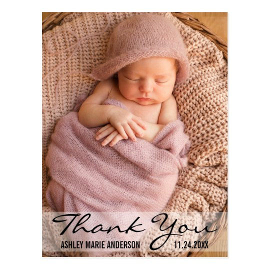 Thank You Modern Baby Birth Postcard