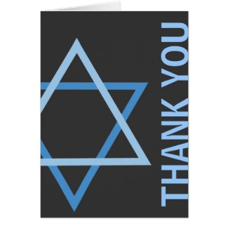 Thank you Modern Bar Mitzvah blue & grey Card