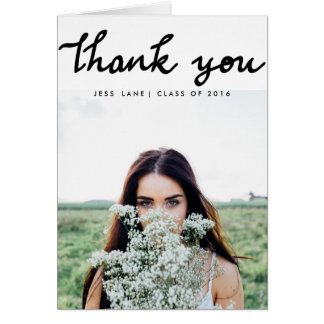 Thank You Modern Handwritten Graduate Photo Greeting Card