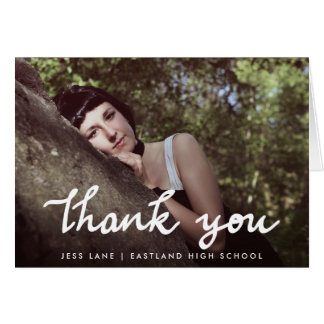 Thank You Modern Handwritten Graduate Photo Greeting Card