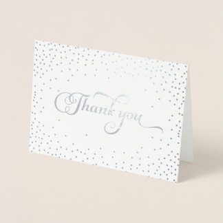 Thank You Modern Silver Foil Confetti Dots Foil Card